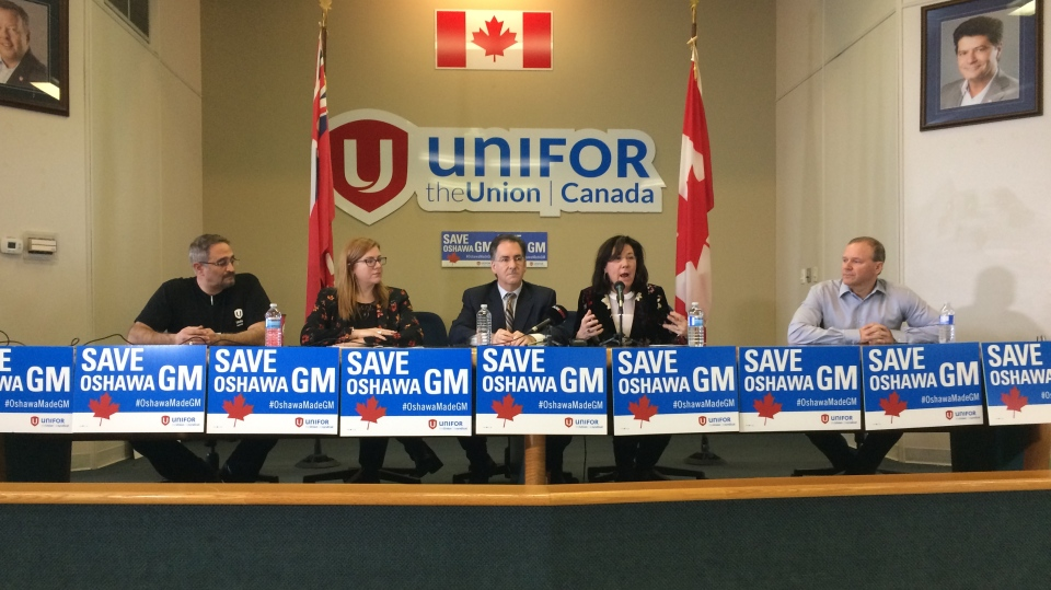 Unifor press conference with Windsor-Essex MPs in Windsor, Ont., on Monday, Feb. 18, 2019. (Stefanie Masotti / CTV Windsor)