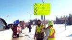 Large group of pro-pipeline trucks headed east