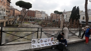 A view of the archeological site of Largo Argentina, in Rome, Monday, Feb. 18, 2019. (AP Photo/Gregorio Borgia)
