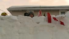 Vanier family's snow fort