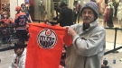 Oilers fan Joe Chevarie, originally from Moncton, N.B., lined up Monday with the hopes of making Milan Lucic his 15th signature.