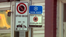 Snow routes are identified by a blue sign with a white snowflake.