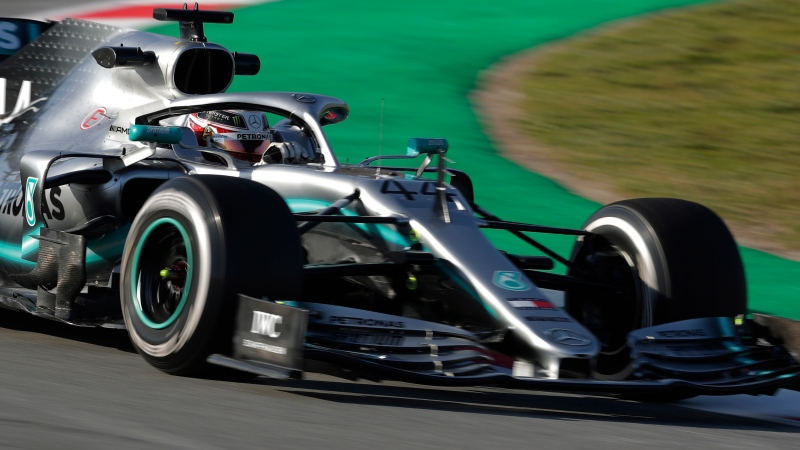Mercedes driver Lewis Hamilton of Britain steers his car during a Formula One pre-season testing session at the Barcelona Catalunya racetrack in Montmelo, outside Barcelona, Spain, Monday, Feb.18, 2019. (AP Photo/Manu Fernandez)