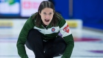 Prince Edward Island skip Suzanne Birt directs the sweep as they play Team Canada at the Scotties Tournament of Hearts at Centre 200 in Sydney, N.S. on Monday, Feb. 18, 2019. THE CANADIAN PRESS/Andrew Vaughan