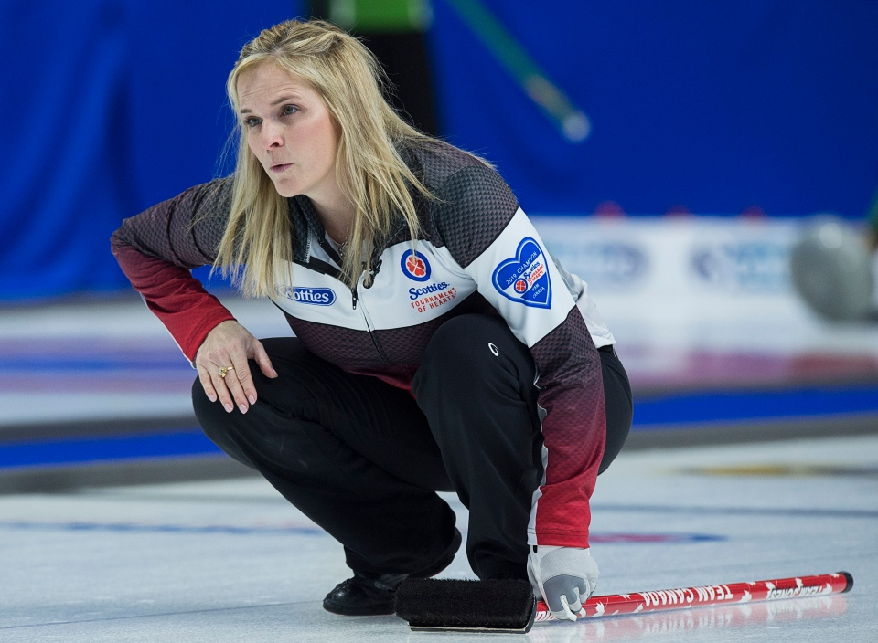 Team Canada skip Jennifer Jones watches a rock as they play Prince Edward Island at the Scotties Tournament of Hearts at Centre 200 in Sydney, N.S. on Monday, Feb. 18, 2019. THE CANADIAN PRESS/Andrew Vaughan