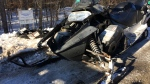 A snowmobile is pictured following a crash on Mon., Feb 18, 2019 on Horseshoe Valley Road. (CTV News/Chris Garry)