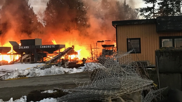 Fire destroys Sooke cement facility