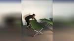 Staff set up cots at the David Busby Centre in Barrie, Ont. on Mon. Feb. 18, 2019 (CTV News/Sean Grech)
