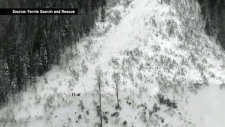 This photo courtesy of Fernie Search and Rescue shows the path Sunday's avalanche took down Mount Fernie