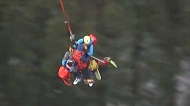 Aerial view of hiker's long-line rescue