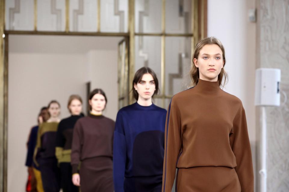Models wears creations by designer Jasper Conran at the Autumn/Winter 2019 fashion week runway show in London, Saturday, Feb. 16, 2019.(Photo by Grant Pollard/Invision/AP)