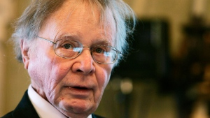 In this Nov. 21, 2008, file photo, Wallace Smith Broecker, a professor in the Department of Earth and Environmental Sciences at Columbia University in New York, addresses the audience during the Balzan prize ceremony in Rome. (AP Photo/Gregorio Borgia)
