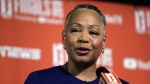 In this Sept. 7, 2018, file photo, then WNBA president Lisa Borders addresses media members before Game 1 of the WNBA basketball finals between the Seattle Storm and the Washington Mystics in Seattle. (AP Photo/Elaine Thompson, File)