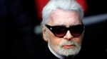 In this Thursday, Nov. 22, 2018 file photo, fashion designer Karl Lagerfeld poses during the Champs Elysee Avenue illumination ceremony for the Christmas season, in Paris. (AP Photo/Christophe Ena, File)