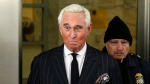 FILE - In this Feb. 1, 2019, file photo, former campaign adviser for President Donald Trump, Roger Stone, leaves federal court in Washington. (AP Photo/Pablo Martinez Monsivais, File)
