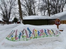 A North Bay woman paints flowers in the snow (Danielle Laporte)
