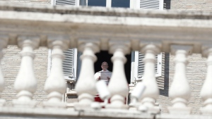 Pope Francis delivers his message during the Angelus noon prayer in St. Peter's Square at the Vatican, Sunday, Feb. 17, 2019. (AP Photo/Gregorio Borgia)