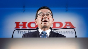 Honda's President and CEO Takahiro Hachigo speaks during a press conference in Tokyo Tuesday, Feb. 19, 2019. (Yuya Shino/Kyodo News via AP)