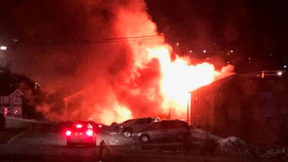 A fire is seen engulfing a home in Halifax on Feb. 19, 2019. (Source: Brandon Christian)