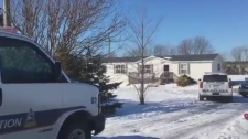 Police and forensics respond to a suspicious death at a home in Borden-Carleton, P.E.I., on Feb. 19, 2019.