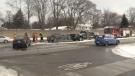 Crews work to clear a three-vehicle crash on Wonderland Road, south of Gainborough Road, in London, Ont. on Tuesday, Feb. 19, 2019. (Marek Sutherland / CTV London)
