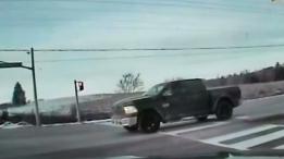 A truck is seen stopped on Green Lane, east of Leslie Street, on Feb. 11. (York Regional Police)