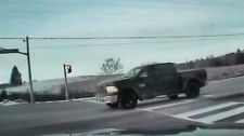 A truck is seen stopped on Green Lane, east of Leslie Street, on Feb. 11. (York Regional Police)