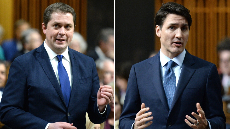 Prime Minister Justin Trudeau and Opposition Leader Andrew Scheer are seen in question period on Tuesday, Feb. 19, 2019. THE CANADIAN PRESS/Sean Kilpatrick