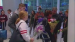 Local women return home to Pearson International Airport on Tuesday, Feb. 19, 2019 (CTV News)