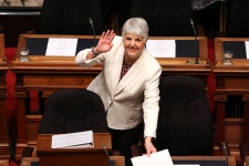 Finance Minister Carole James arrives to deliver the budget speech as she waves to people in the gallery at the legislature in Victoria, B.C., on Tuesday, February 19, 2018. THE CANADIAN PRESS/Chad Hipolito