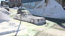 Turning snowbanks into street art