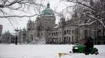 Snow is seen at the legislature in Victoria, B.C., on Tuesday, Feb. 12, 2019. (Chad Hipolito / THE CANADIAN PRESS)