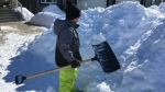 Roch Wheeler is shoveling snow to raise money for his swim club's upcoming marathon, which will donate 10 per cent of the money raised to Regina Palliative Care.