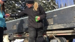 Jennifer Campeau and her team of dogs. (Holly Giesbrecht/CTV Prince Albert)