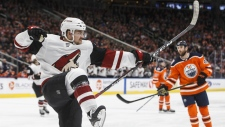 Arizona Coyotes' Vinny Hinostroza (13) celebrates a goal against the Edmonton Oilers during third period NHL action in Edmonton, Alta., on Tuesday February 19, 2019. THE CANADIAN PRESS/Jason Franson