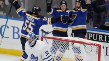Toronto Maple Leafs goaltender Frederik Andersen (31) skates toward the bench after St. Louis Blues' Ryan O'Reilly in overtime of an NHL hockey game Tuesday, Feb. 19, 2019, in St. Louis. The Blues won 3-2. (AP Photo/Tom Gannam)
