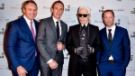 Todd Cowan, left to right, & Jordan Dermer (Co-founders of Capital Developments), Karl Lagerfeld & Peter Freed, taken at the Artshoppe Lofts & Condos launch event in Toronto, April 2015. Several Canadian fashion and design experts who met couture icon Karl Lagerfeld are recalling a powerful visionary whose influence lives on in their work. (THE CANADIAN PRESS/HO-Capital Development)