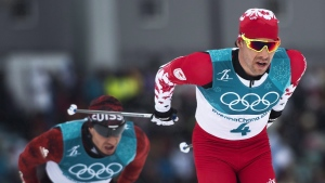 Alex Harvey of Canada competes in the men's 15km + 15km Skiathlon during the 2018 Olympic Winter Games in Pyeongchang, South Korea, on Sunday, February 11, 2018. (THE CANADIAN PRESS/Nathan Denette)