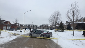 Barrie police investigate a murder on Tues, Feb. 19, 2019 (CTV News/Steve Mansbridge)