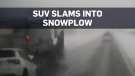 Caught on cam: SUV smashes into snowplow