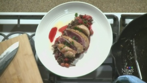 Duck breast with wild rice and sour cherry