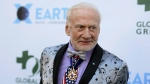 Buzz Aldrin attends the 15th annual Global Green Pre-Oscar Gala, at NeueHouse Hollywood, in Los Angeles in this Wednesday, Feb. 28, 2018 file photo. (Photo by Richard Shotwell/Invision/AP, File)