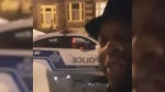 Lateef Martin started recording video after he was handed a $48 ticket for walking on a street instead of an ice-covered sidewalk in Montreal. (Lateef Martin / Facebook)
