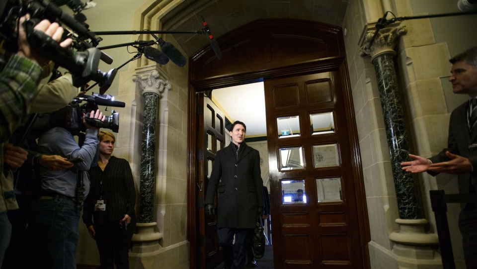 Prime Minister Justin Trudeau arrives to a caucus meeting on Parliament Hill in Ottawa on Wednesday, Feb. 20, 2019. THE CANADIAN PRESS/Sean Kilpatrick