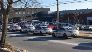 "Dartmouth High School is currently in a lock down. Police are at the school investigating a weapons complaint.  Dismissal has been delayed until the ""all clear"" is given. Police are asking that people stay clear of the area.  (GEORGE REEVES CTV NEWS)"