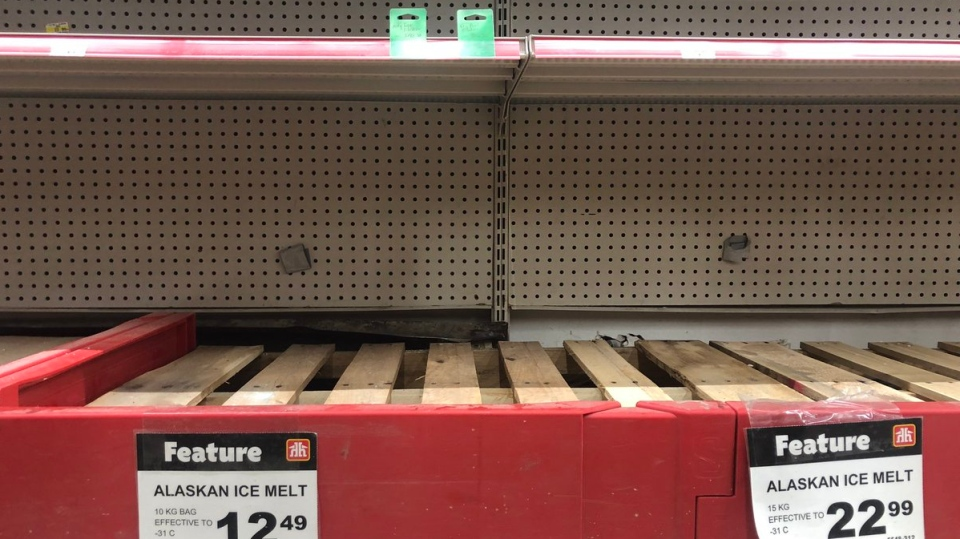 Empty shelves greet customers looking for road salt at Tuckey Home Hardware in London, Ont. on Wednesday, Feb. 20, 2019. (Adrienne South / CTV London)