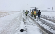 Emergency crews including STARS Air Ambulance and HELO rescue at the scene of Wednesday morning's fatal crash south of Taber (image courtesy: MD Taber Regional Fire Service)