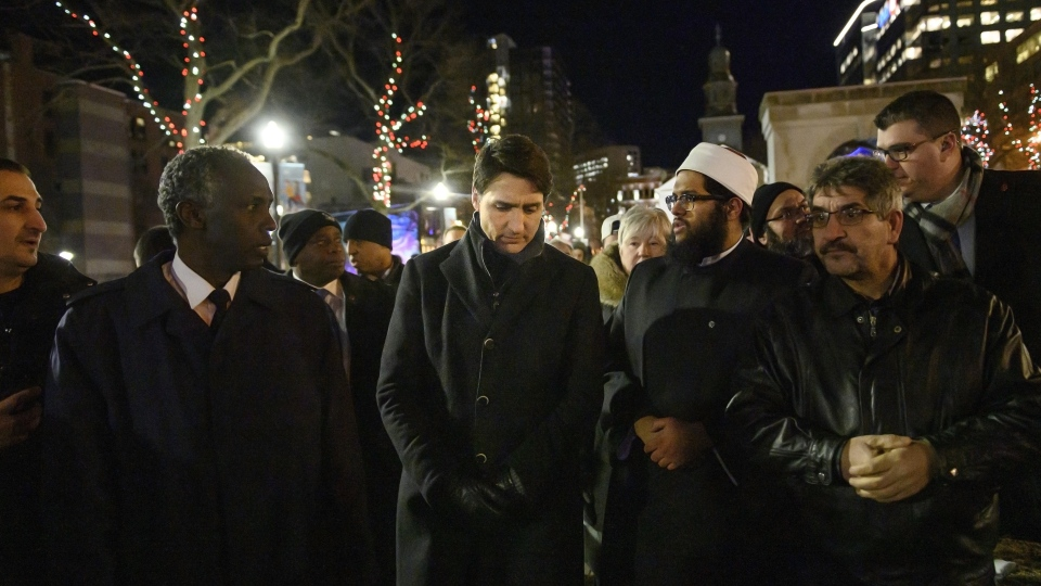 Prime Minister Justin Trudeau, centre, meets with Muslim leaders and community members following a vigil held for the seven siblings of a Syrian refugee family who died in a house fire and the surviving mother and father in Halifax on Wednesday, February 20, 2019. (THE CANADIAN PRESS/Darren Calabrese)