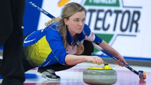 Alberta skip Chelsea Carey delivers a rock as they play Quebec at the Scotties Tournament of Hearts at Centre 200 in Sydney, N.S. on Wednesday, Feb. 20, 2019. THE CANADIAN PRESS/Andrew Vaughan