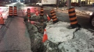 A sinkhole has formed at Jarvis and Wellesley streets. (Michael Nguyen/ CP24)
